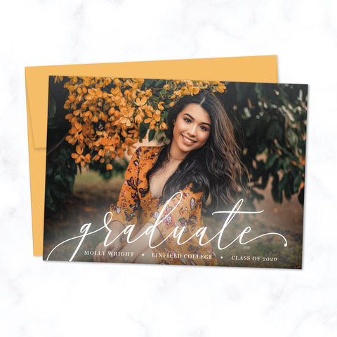 Graduation Announcement Photo Card with Modern Elegant Script Font and Full Photo Background, Shown with Citrine Orange Envelope