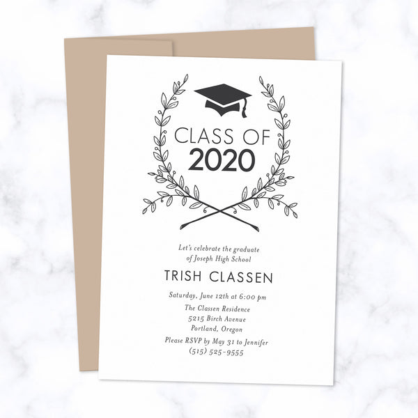 Class of 2020 Graduation Invitation / Grad Party Invite - Grad cap with floral wreath in white and harvest envelope