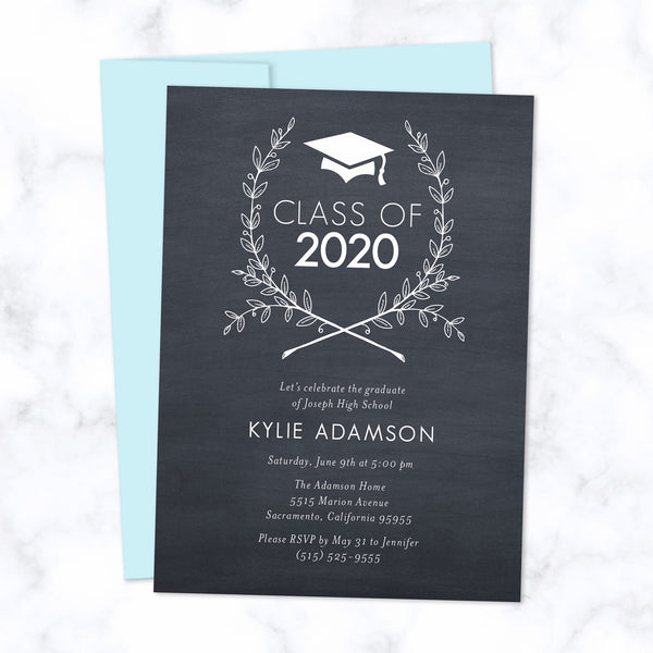 Class of 2020 Graduation Invitation / Grad Party Invite - Grad cap with floral wreath in dark grey with light blue envelope