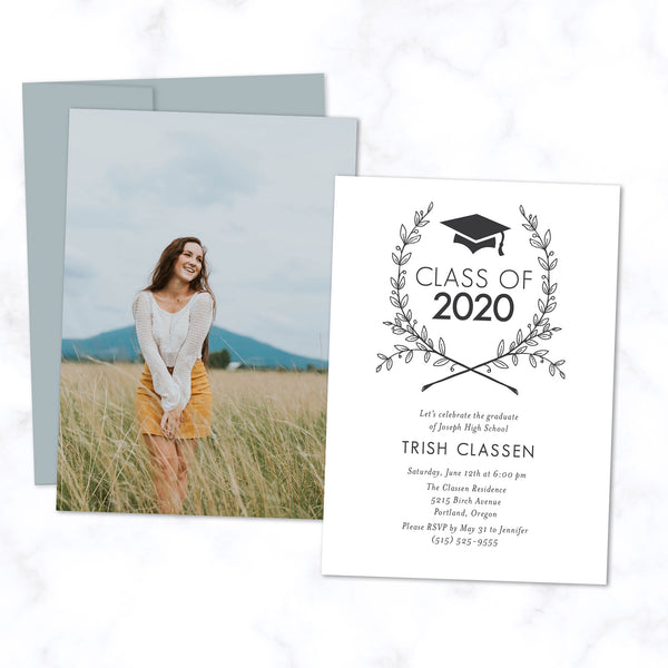 Graduation Photo Card - Grad Party Invitation with Photo and Floral Wreath - Class of 2020 with Grad Cap Logo - In White with Dusty Blue Envelopes