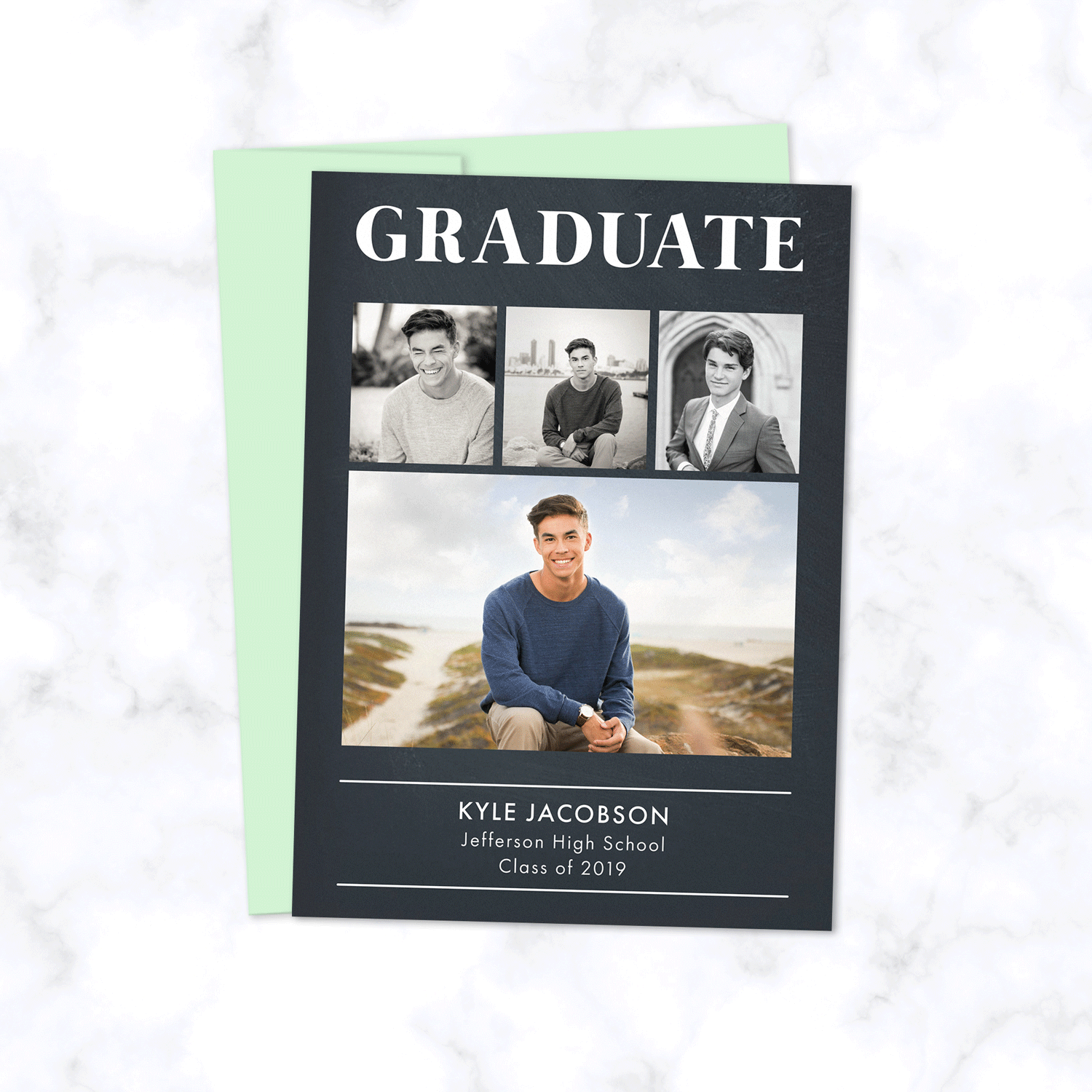 Classic Graduation Announcement Card with Four Photos and Modern Simple Typography with Dark Chalkboard Gray Background - Envelopes Included - Shown with Pistachio Green Envelope