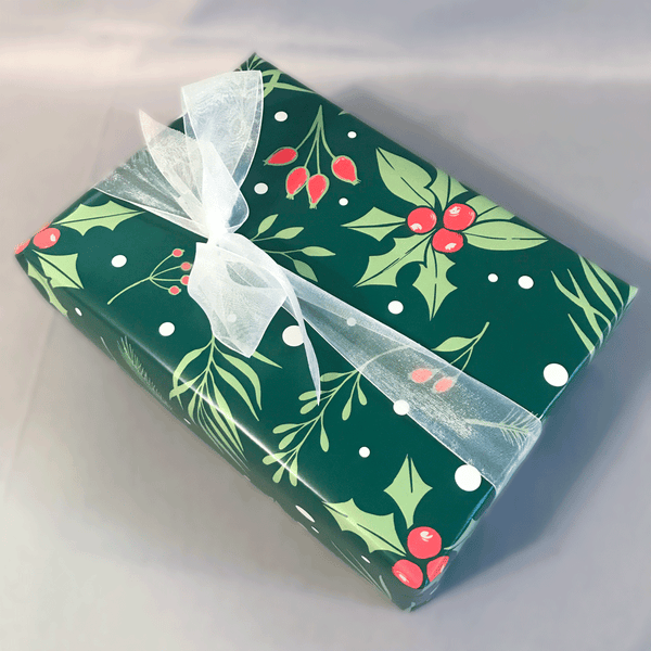 Green Holly Berry Print Holiday Gift Wrap - Designer Wrapping Paper Sheets - Wrapped Gift Box with White Ribbon
