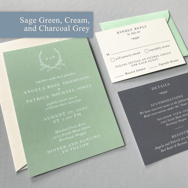 Sage Green, Charcoal Grey, and Cream colored Wedding Invitation Samples - The Ophelia Suite