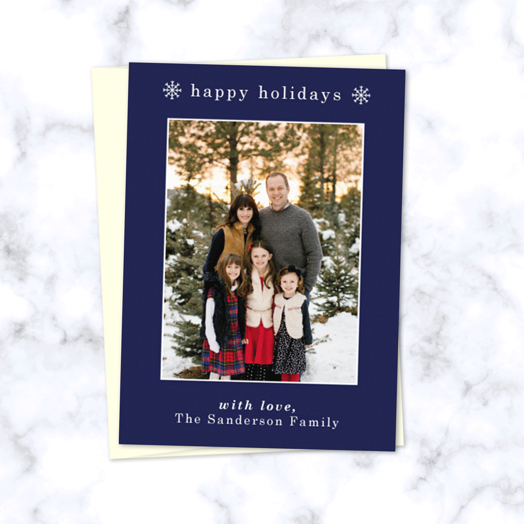 Minimal Holiday Photo Card - Happy Holidays Navy Blue Christmas Family Photo Card - Custom Printed Cards and Envelopes