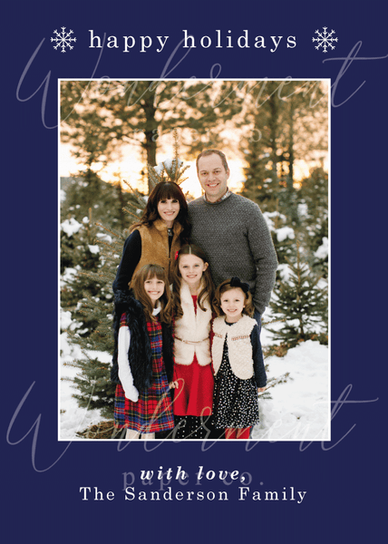 Minimal Holiday Photo Card - Watermarked Sample Card - Happy Holidays Navy Blue Christmas Family Photo Card - Custom Printed Cards and Envelopes