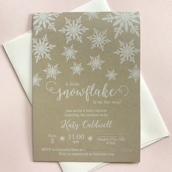 Winter Snowflake Baby Shower Invitation with White Ink on Kraft Paper by Wonderment Paper Co