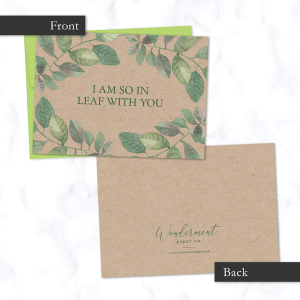 So in Leaf with You Illustrated Card Front and Back View - with Watercolor Leaf Illustration on Front - for Valentine's Day or Anniversary - on Kraft paper with Green Envelope Included
