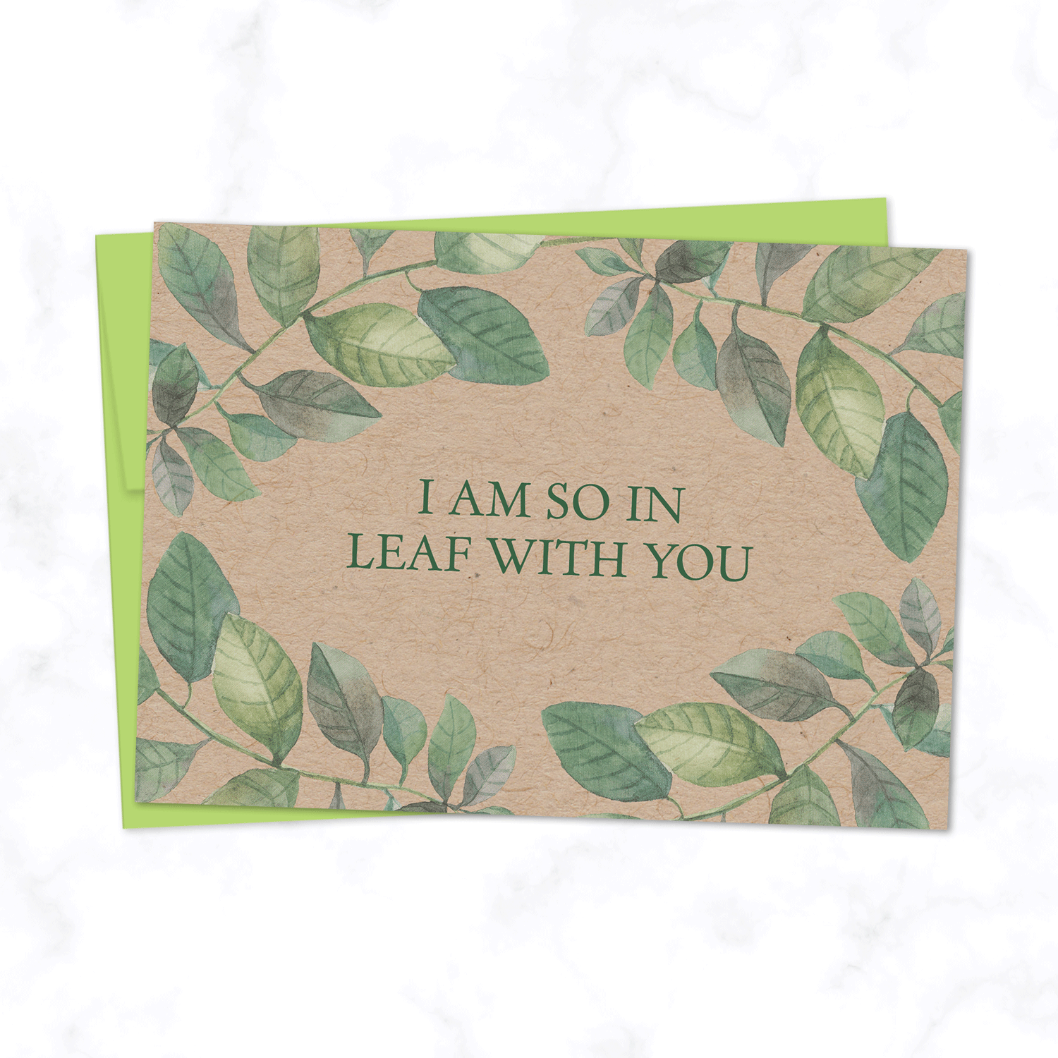 So in Leaf with You Illustrated Card with Watercolor Leaf Illustration for Valentine's Day or Anniversary - on Kraft paper with Green Envelope Included