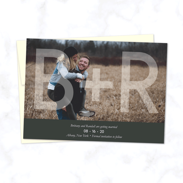 Initials Overlay Full Photo Save the Date Wedding Cards with Envelopes included - Shown with Charcoal Grey Highlight and Cream Envelope