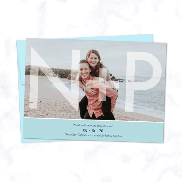 Initials Overlay Full Photo Save the Date Wedding Cards with Envelopes included - Shown with Light Blue Highlight and Matching Envelope