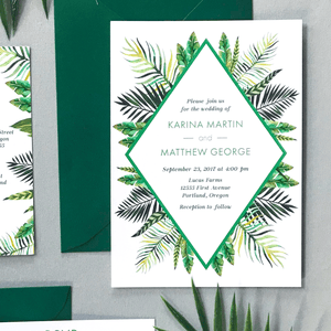 Invitation - The Callisto Suite - Tropical Palm Leaves Wedding Invitation Suite