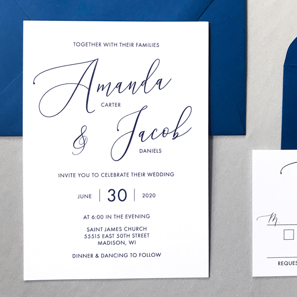 Invitation - The Cressida Suite - Minimal Large Script Wedding Collection