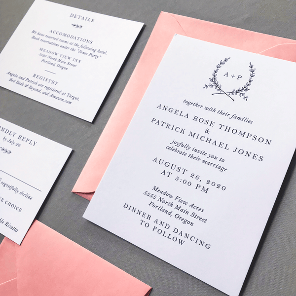 Invitation Close up with Details Card and RSVP in white and Candy Pink - The Ophelia Suite - Minimal Floral Monogram Wedding Invitation Collection