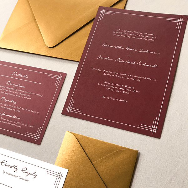 Full Wedding Stationery Set - The Titania Suite - Classic Lined Border Wedding Invitation Suite by Wonderment Paper Co