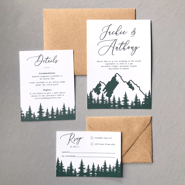 Invitation with RSVP and Details Card - The Aurora Suite - Mountains in the Woods Wedding Theme