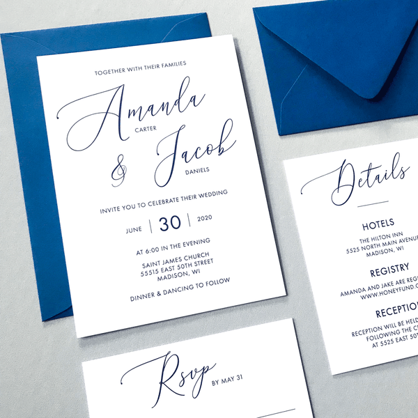 Full Wedding Stationery Set Invitation RSVP and Details Card - The Cressida Suite - Minimal Large Script Wedding Collection