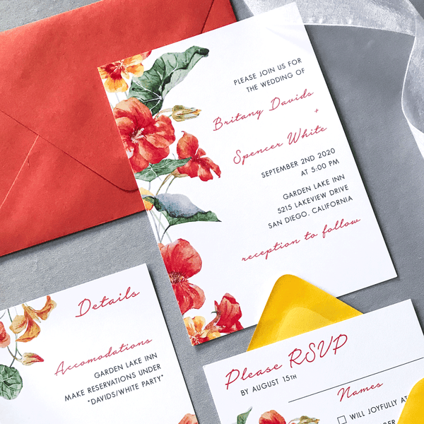 Invitation Close up with Details and RSVP Card - The Bianca Suite - Burnt Orange and Yellow Watercolor Floral Wedding Suite