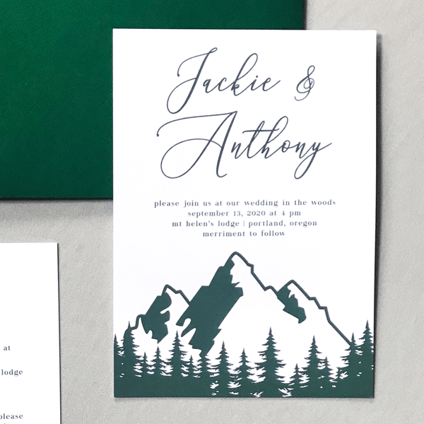 Invitation Close Up - The Aurora Suite - Mountains in the Woods Wedding Theme with Forest Green Envelope