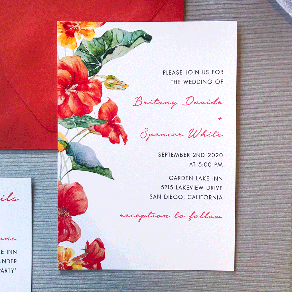 Invitation - The Bianca Suite - Burnt Orange and Yellow Watercolor Floral Wedding Suite