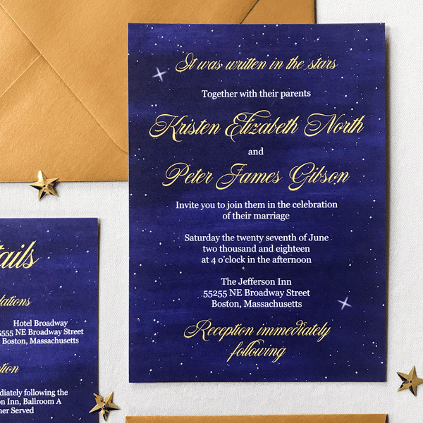 Invitation Close Up - the Luna Suite - Written in the Stars wedding Them