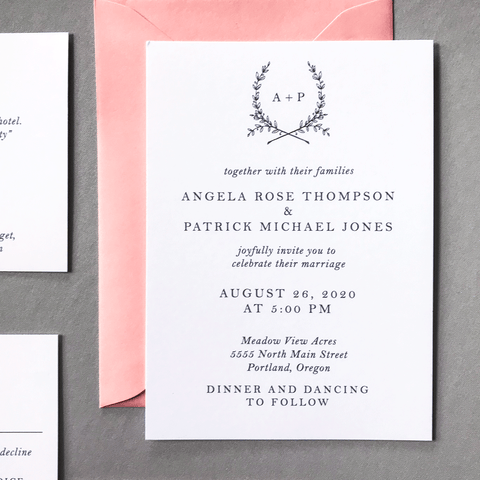 Invitation - The Ophelia Suite - Minimal Floral Monogram Wedding Invitation Collection