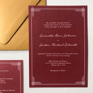 Invitation - The Titania Suite - Classic Lined Border Wedding Invitation Suite by Wonderment Paper Co