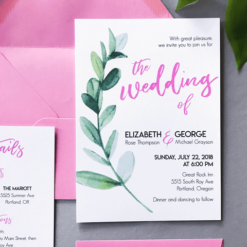 Invitation - Miranda Suite - Pink and Watercolor Green Leaf Wedding Invitations