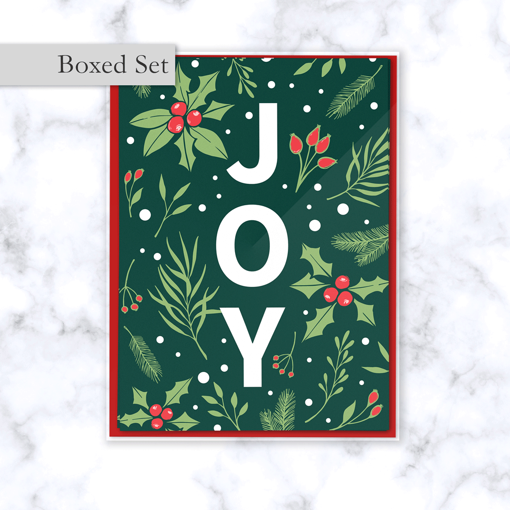 Joy Boxed Christmas Card Set with Emerald Green Floral Holly Berry Pattern - Red Envelope Included