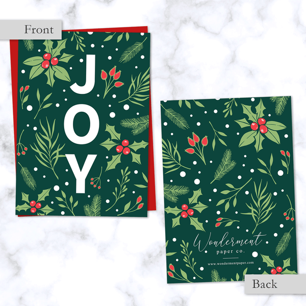 Joy Christmas Card Front and Back View - with Emerald Green Floral Holly Berry Pattern - Red Envelope Included