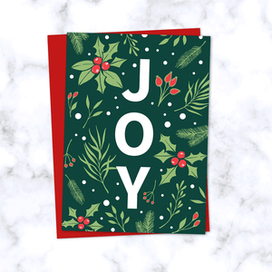 Joy Christmas Card with Emerald Green Floral Holly Berry Pattern - Red Envelope Included