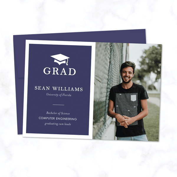 Grad Announcement Card in Navy Blue - Minimal Modern Card with One Senior Portrait Photo and Custom Colors - Shown in Dark Blue with Sapphire Blue Envelope Included