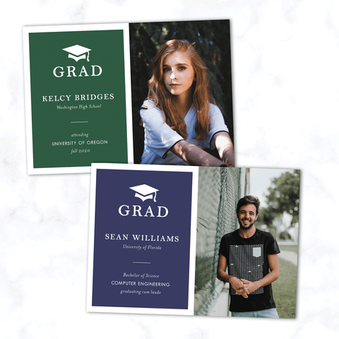 Minimal Graduation Announcement with Photo, Modern Typography, and Grad Cap. High School or College Commencement Cards - Choose Any Color - Shown in Green and Blue
