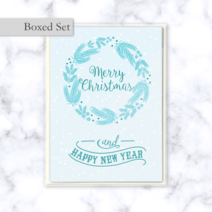 Light Blue Merry Christmas and Happy New Year Boxed Greeting Card Set with Winter Floral Wreath - Four Cards & Envelopes Included