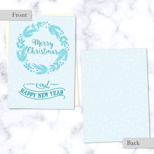 Front and Back View. Merry Christmas and Happy New Year Light Blue Winter Wreath Folded Christmas Card with Envelope