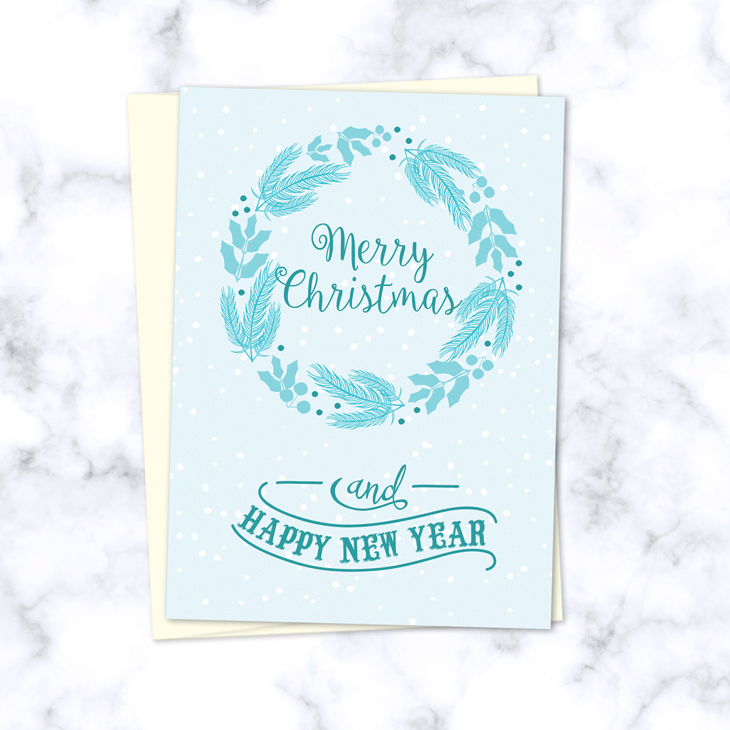 Merry Christmas and Happy New Year Light Blue Winter Wreath Folded Christmas Card with Envelope