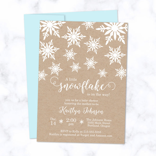 Little Snowflake Baby Shower Invitations printed with white ink on natural brown kraft paper - with light blue envelope - size A7