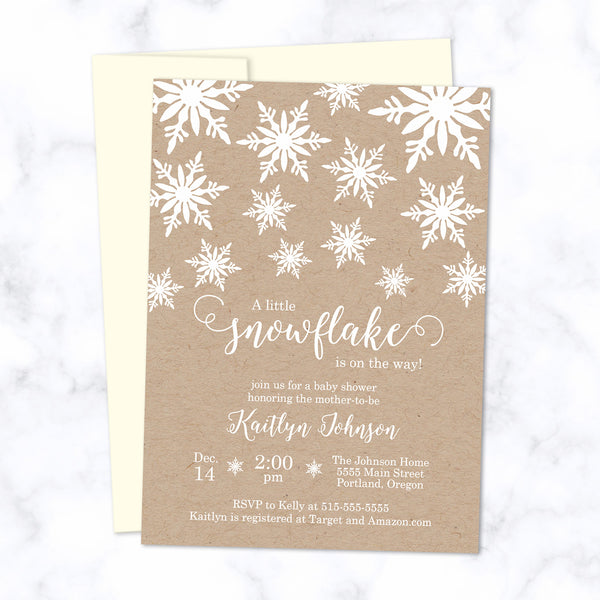 Little Snowflake Baby Shower Invitations printed with white ink on natural brown kraft paper - with cream envelope - size A7
