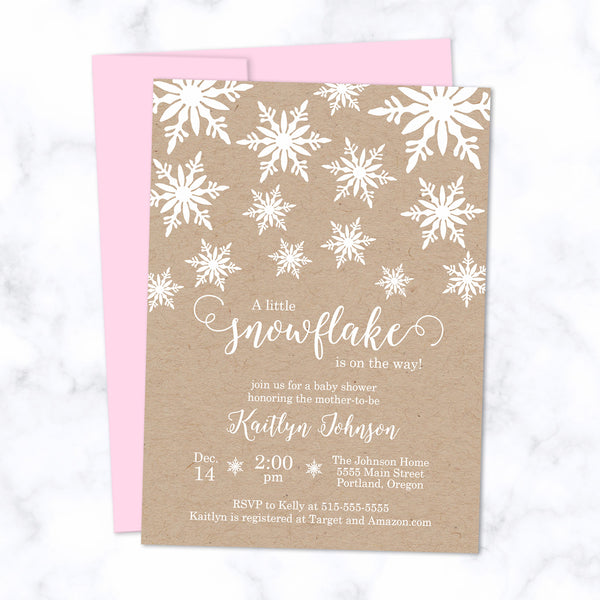 Little Snowflake Baby Shower Invitations printed with white ink on natural brown kraft paper - with light pink envelope - size A7