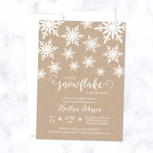 Little Snowflake Baby Shower Invitations printed with white ink on natural brown kraft paper - with white envelope - size A7