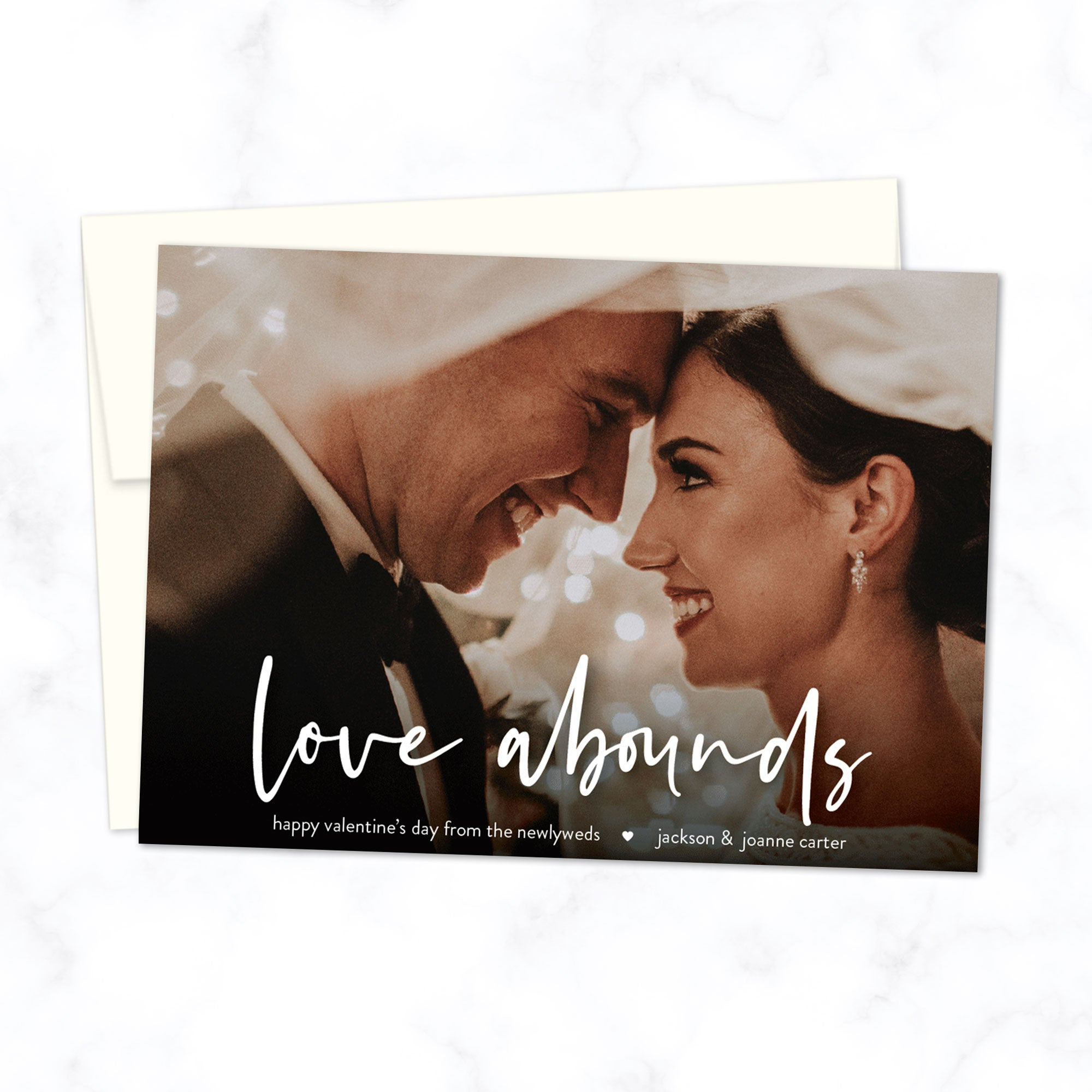 "Valentine's Day / wedding newlyweds Custom Photo Card with Full Photo Background and Modern Script Font ""love abounds"" - Custom printed A7 cards with envelopes"