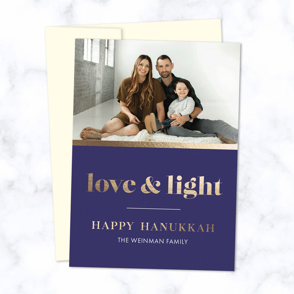 Hanukkah Photo Cards with Gold Foil-Pressed Love & Light and Happy Hanukkah and Family Name with Cream Envelope