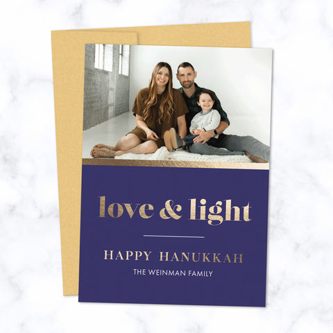 Hanukkah Photo Cards with Gold Foil-Pressed Love & Light and Happy Hanukkah and Family Name with Gold Envelope