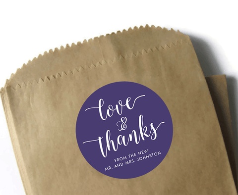 Love and thanks wedding favor stickers - navy blue and white - 3 inch round circle matte labels