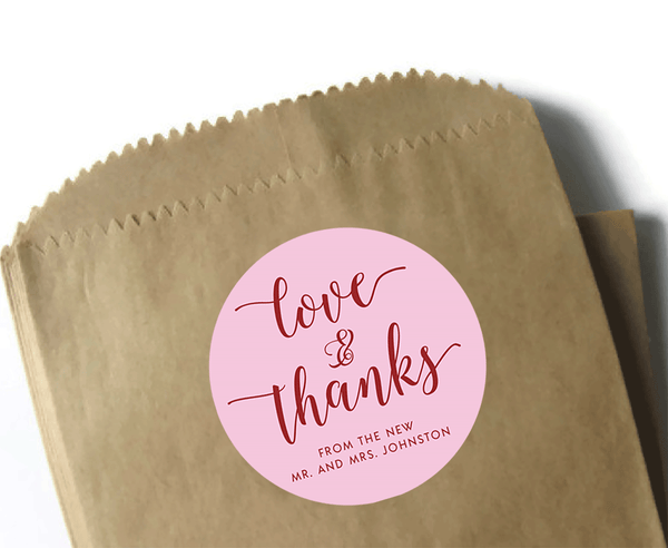Love and thanks wedding favor stickers - pink and red with cursive script font - 3 inch round circle matte labels
