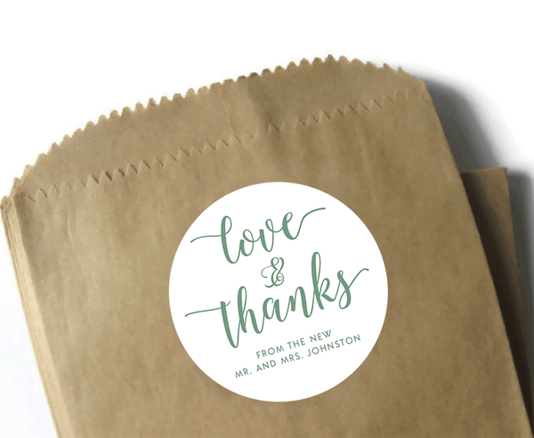 Love and thanks wedding thank you stickers - white and olive green - 3 inch round circle matte labels - wedding or event favor stickers