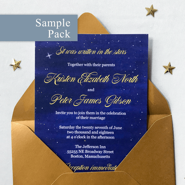 Wedding Invitation Sample Pack - The Luna Suite - Written in the Stars Navy Blue and Gold Wedding Theme