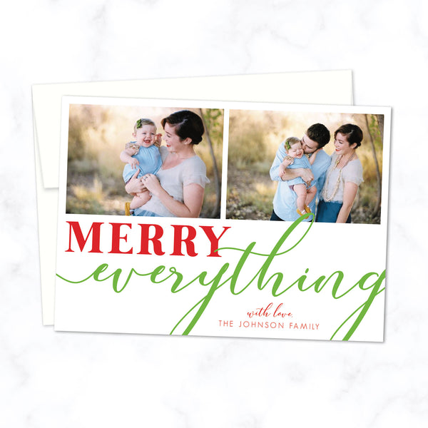 "Christmas Family Photo Cards - Custom Printed ""Merry Everything"" Holiday Card with Family Photo - Envelopes Included"