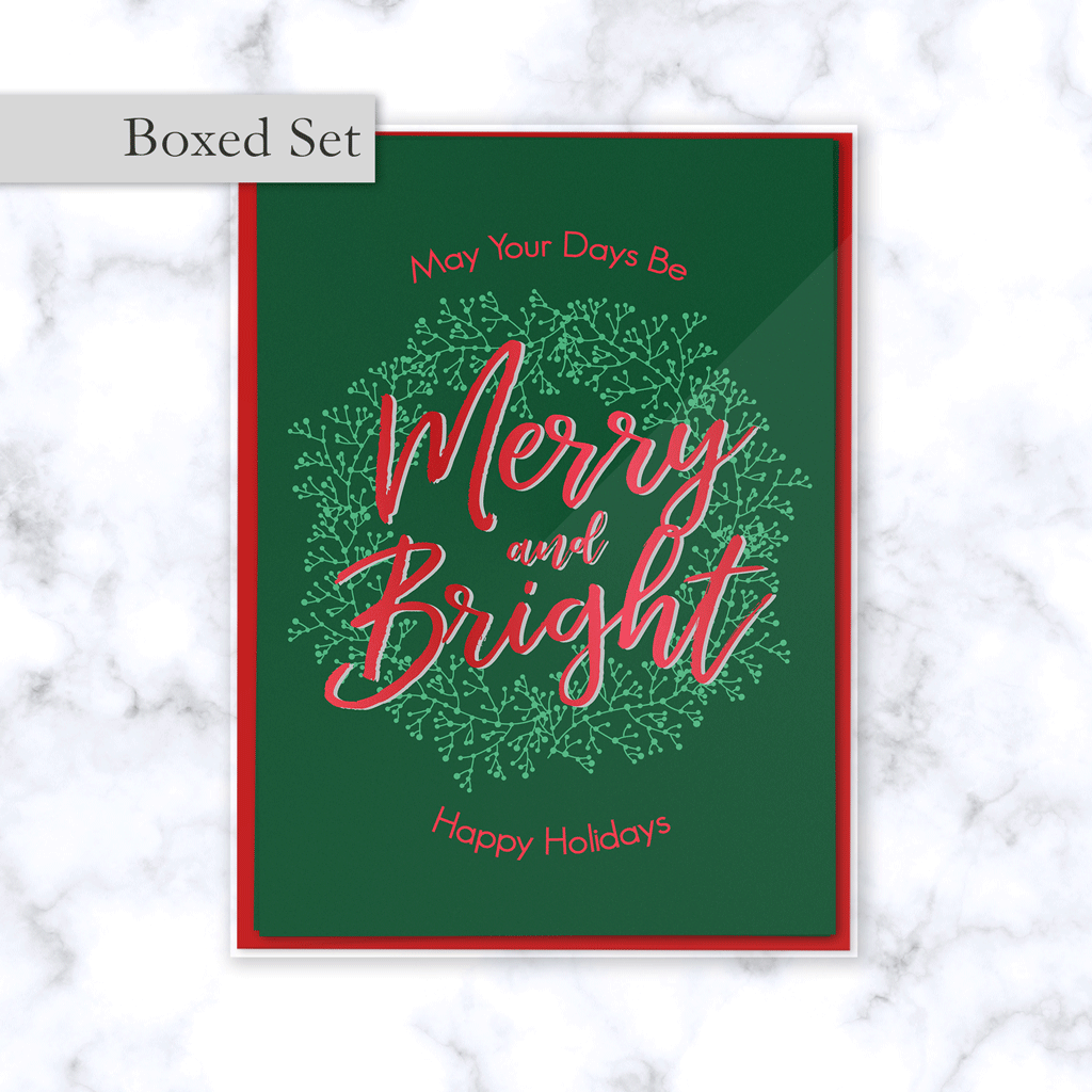 Merry & Bright Boxed Christmas Greeting Card Set in Green and Red with Envelopes Included