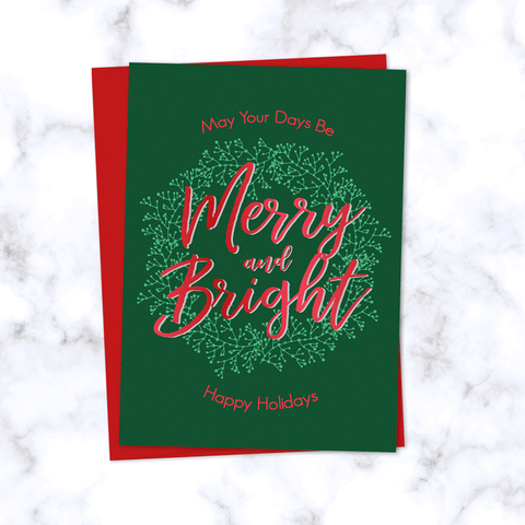 Merry & Bright Christmas Folded Card Blank Inside Dark Green with Red Envelope