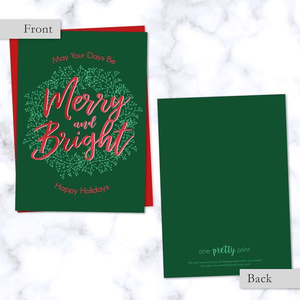 Merry & Bright Christmas Folded Card - Front and Back View. Blank Inside, Dark Green and Red with Red Envelope